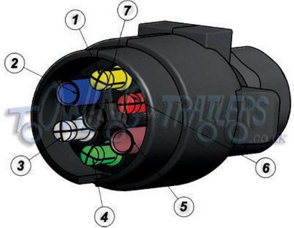 7 pin 'n' type 12n trailer plug socket wiring diagram