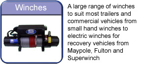Winches from small hand winches for boat trailers to Large Superwinch for Recovery