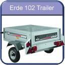 Erde 102 slightly smaller trailer with lower carrying capacity, smaller wheels and No ABS hard top available